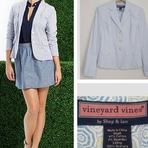 Vineyard Vine seersucker light blue/white blazer